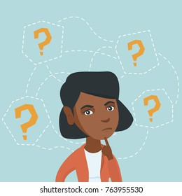 Young african-american business woman thinking. Thinking business woman standing under question marks. Thinking business woman surrounded by question marks. Vector cartoon illustration. Square layout.