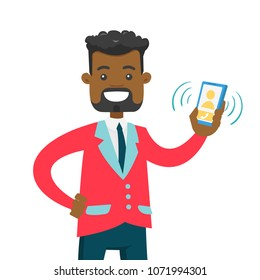 Young african-american businessman holding ringing mobile phone in hand. Happy smiling businessman showing a mobile phone with incoming call. Vector cartoon illustration isolated on white background.