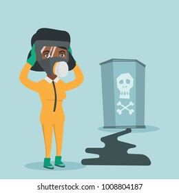 Young african-american concerned woman in respirator and yellow protective suit clutching her head and looking at leaking barrel with radiation sign. Vector cartoon illustration. Square layout.