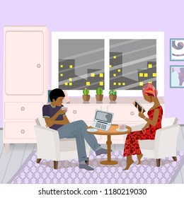 Young  African-American couple sitting in the living room.  Woman  reading a book. Young man  watching video on laptop