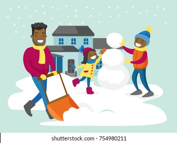 Young african-american father removing snow with a shovel in the yard while his son and daughter playing in the snow and making a snowman on snowy winter day. Vector isolated cartoon illustration.