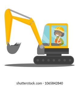 Young african-american female builder in hard hat driving an excavator. Woman in reflective clothing operating an excavator. Vector cartoon illustration isolated on white background. Square layout.