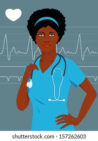 Young African-American female nurse or doctor in scrubs, heart monitor on the background