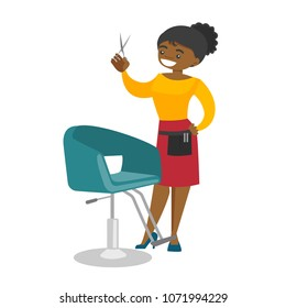 Young african-american hair stylist standing next to the armchair in the beauty saloon and holding hairdressing tools in a hand. Vector cartoon illustration isolated on white background. Square layout
