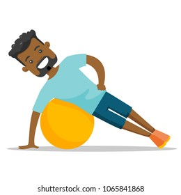 Young african-american man doing exercises with a fitball. Glad sportsman holding side plank exercise on a fitball. Healthy lifestyle concept. Vector cartoon illustration isolated on white background.