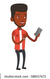 Young african-american man holding mobile phone. Smiling man pointing at something on mobile phone. Man standing with mobile phone in hand. Vector flat design illustration isolated on white background