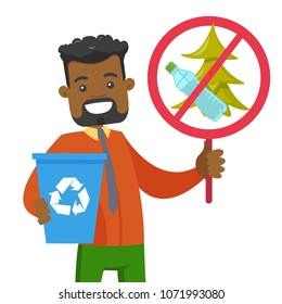 Young african-american man holding recycling bin and do not littering in park placard. Waste recycling and take care of clean nature concept. Vector cartoon illustration isolated on white background.