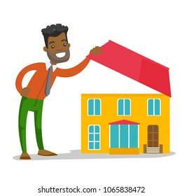 Young african-american man looking for a new house. Hipster businessman opening the roof and inspecting the house before buying. Vector cartoon illustration isolated on white background. Square layout