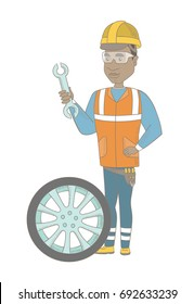 Young african-american mechanic in uniform and hard hat holding spanner and wheel. Full length of mechanic with tyre and spanner. Vector sketch cartoon illustration isolated on white background.