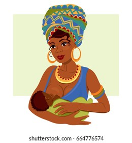 Young African-American mother holding her newborn baby child in her arms breastfeeding. Black mother and baby in cartoon style. Cards of Happy Mother's Day