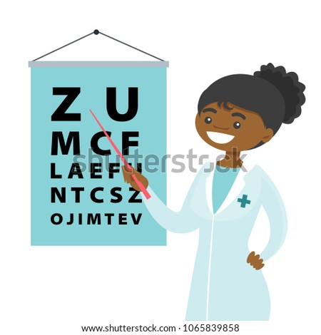 Young Africanamerican Ophthalmologist Doctor Pointing Eye Stock