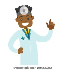 Young african-american otolaryngologist doctor. Audiologist doctor in medical gown and medical frontal reflector on the head used for examination of ear, nose, throat. Vector cartoon illustration.