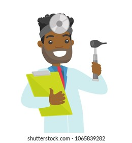 Young african-american otolaryngologist doctor holding clipboard. Audiologist doctor in medical gown with tools used for examination of ear, nose, throat. Vector cartoon illustration. Square layout.