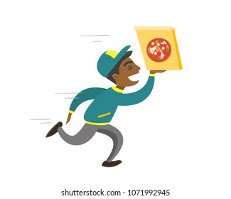 Young african-american pizza delivery boy running with cardboard box with pizza. Concept of food delivery and fast food. Vector cartoon illustration isolated on white background. Square layout.