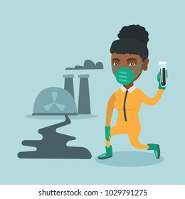 Young african-american scientist in gas mask and yellow protective suit holding a test-tube with black liquid on the background of nuclear power plant. Vector cartoon illustration. Square layout.