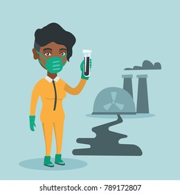 Young african-american scientist in yellow protective suit standing on the background of nuclear power plant and holding a test-tube with black liquid. Vector cartoon illustration. Square layout.