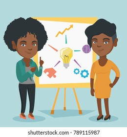 Young african-american student explaining a project to a professor. Group of students working on a project. Two students discussing a project. Vector cartoon illustration. Square layout.