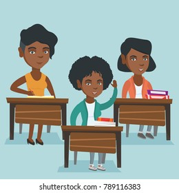 Young african-american student raising her hand for an answer in the classroom. Happy smart student sitting at the desk with raised hand at the lesson. Vector cartoon illustration. Square layout.