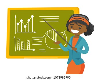 Young african-american teacher pointing at the board with a pointer. Teacher standing next to the blackboard with charts in the classroom. Vector cartoon illustration isolated on white background.