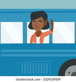Young african-american woman enjoying her trip by bus. Passenger waving hand from the bus window. Cheerful tourist peeking out of bus window and waving hand. Vector cartoon illustration. Square layout