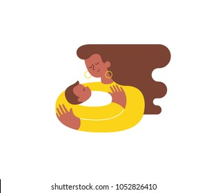 Young African-American woman hugging and cuddling her baby boy or girl and nursing him. Mother embracing newborn son and expressing love and care. Modern illustration. Isolated. Vector