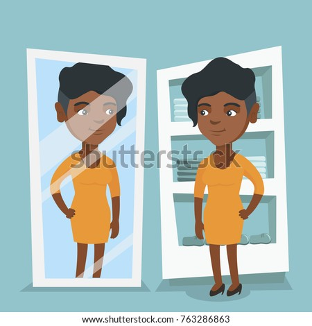 young africanamerican woman looking mirror dressing のベクター画像