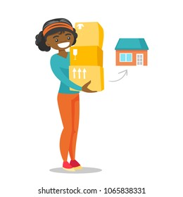 Young african-american woman moving to a new house and carrying boxes. New homeowner holding cardboard boxes. Vector cartoon illustration isolated on white background. Square layout.