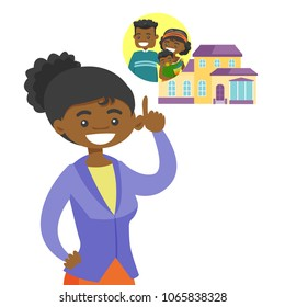 Young african-american woman planning future purchase of a family house. Smiling woman pointing at the house with a family. Vector cartoon illustration isolated on white background. Square layout.