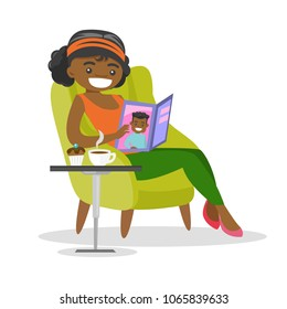 Young african-american woman sitting on an armchair with a magazine in hands. Woman reading a magazine and drinking coffee. Vector cartoon illustration isolated on white background. Square layout.