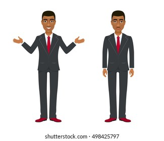 Young afro american businessman in suit in two different  poses and emotions. Vector cartoon character on white background.