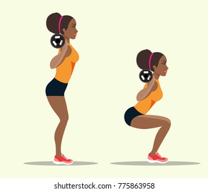 Young afro american sportswoman in sportwear doing squats. Vector flat style isolated illustration.