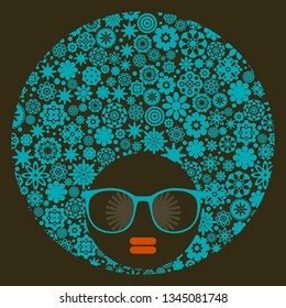 Young afro girl with dark skin and creative turban on her head. Vector illustration with female portrait. Abstract woman face.
