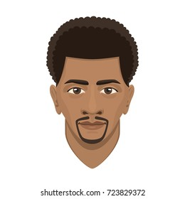 Young afro man avatar character male face portrait cartoon person vector illustration.