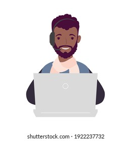 young afro man using laptop and headset online learning vector illustration design
