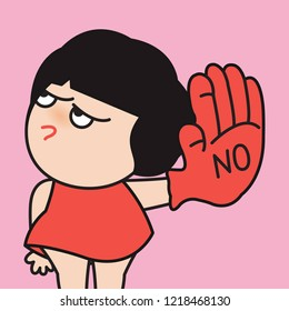 Young Angry Face Girl With Her Raising Hand In Red Glove To Say NO, Concept Against Drugs, Violence, Abuse or Others Card Character illustration