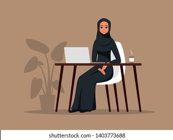 Young arab girl sitting in comfortable armchair at the table with laptop. Muslim business woman wearing hijab working at home or in office. Colored vector illustration in flat cartoon style.