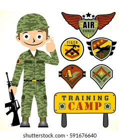 young army and set of army logo with training camp board, t shirt design, vector cartoon illustration