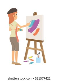 young artist working on painting