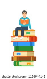 Young asian boy student reads open book sitting on stack of giant books. High school education concept. Vector cartoon illustration. Exam preparation using paper book. Modern well-educated youth