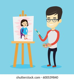 Young asian man painting a female model on canvas. Creative smiling male artist drawing on an easel. Cheerful artist working on a painting. Vector flat design illustration. Square layout.
