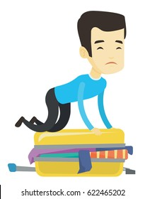 Young asian man sitting on suitcase and trying to close it. Sad man having problems with packing a lot of clothes into a single suitcase. Vector flat design illustration isolated on white background.