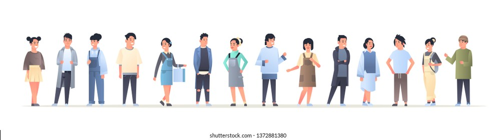 young asian men women group wearing casual clothes happy attractive guys girls standing together chinese or japanese female male cartoon characters full length flat horizontal