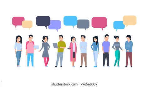 Young Asian Men And Women Group With Chat Bubbles Chinese Or Japanese Male And Female People Full Length Communication Concept Vector Illustration
