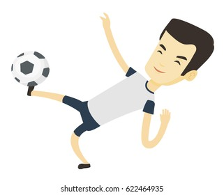 Young asian soccer player kicking ball during game. Happy soccer player juggling with a ball. Football player playing with soccer ball. Vector flat design illustration isolated on white background.
