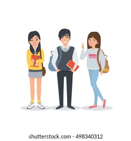 Young asian student characters collection. Students Lifestyle. Vector students illustration.