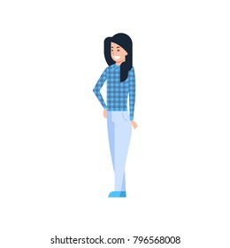Young Asian Woman Chinese Or Japanese Female Wearing Modern Casual Clothes Full Length Isolated Vector Illustration