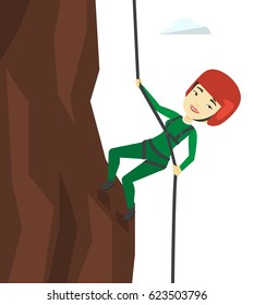 Young asian woman climbing on mountain with rope. Rock climber in protective helmet climbing on rock. Smiling sportswoman climbing a rock. Vector flat design illustration isolated on white background.