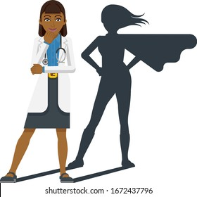 A young Asian woman medical doctor revealed as super hero by his superhero silhouette shadow