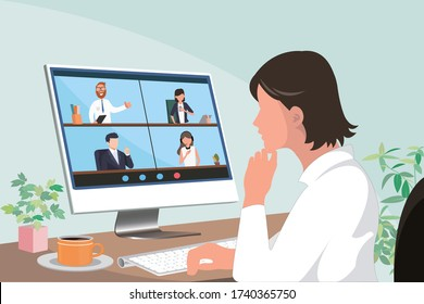 young asian woman meeting with other business people via video call using laptop computer
