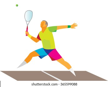 young athlete playing squash